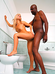 Skinny & petite teen penetrated by black moster cock