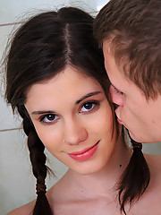 Petite teen Caprice fucking in the shower