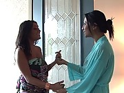 Busty babe gets lesbo soapy massage in the shower