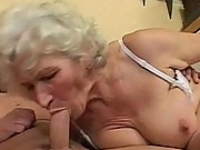 Horny granny fucked from behind