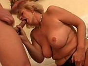 Naughty granny sucking and fucking