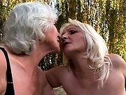 Lesbian grannies get down and dirty