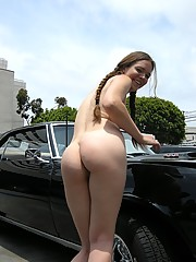 Pigtailed girl flashing her body