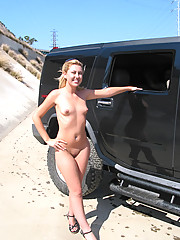 Cute blond flashing and strolling the streets of LA
