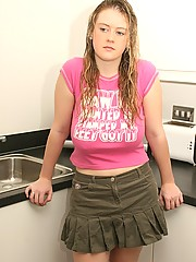 Cute blonde strips in the kitchen