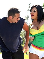 Mason Moore plays her her competitors big balls and cock