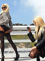 Jessica lynn black fish net stocking lesbians share a hard fuck in these hot licking pussy dildo fucking babe lesbo pics