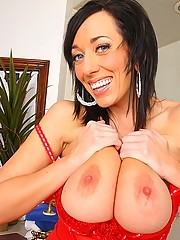 Amazing big tits red lingerie brunette takes a mega dong up her box in these hard pouding cumfaced pics