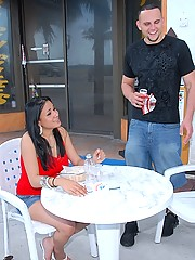 Amazing hot long leg red mini skirt latina gets picked up on the streets then fucked on the pool table hall in these hot pics