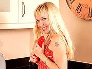 Hot blonde housewife in stiletto heels masturbates with a vibrator
