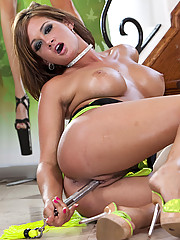 Tory Lane undresses before touching her tight wet pussy in this photo set