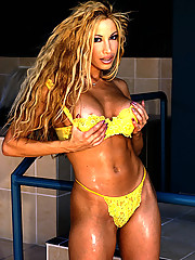 Gina Lynn wears yellow bikini before stripping down and posing for the camera