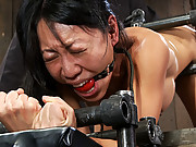 Tiny hot Asian MILF get bound in metal and ASS fucked by a brutal machine!