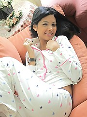 Karla looks hot and has some fun while taking her PJ