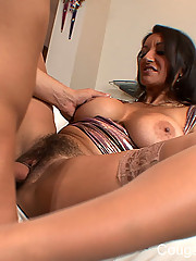 The perfect big tittied brunette fifty year old mature milf gets her perfect milf body fucked by a luc