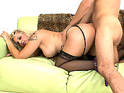 Hot blonde cougar with an irresistible big ass gets fucked hard by a younger man with a big cock