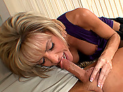 Tall slut housewife spreads her long legs and lets a younger man stick his cock in her pussy