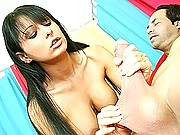 Allison Star show off her big tits and jerks cock til it blew cumloads