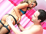 Curvy ass blonde Aleksa in a 69 sex action giving awesome handjob