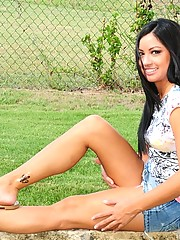 Cierra shows you that she does not have any panties underneath her tight skirt
