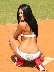 Cierra plays some topless baseball