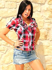 Cierra looks sexy in plaid and her short denim skirt