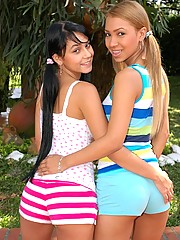 Tania and Isabella are hot lesbian lovers in pigtails