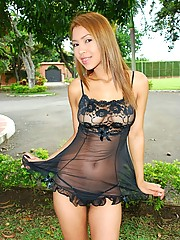 Tania wears a sheer baby doll and sticks a toy in her pussy and tight ass