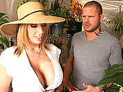 Sara Jay shows her flower patch and gets fucked