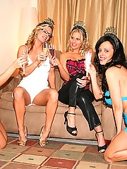 Mad hot ass lesbian lingerie babes strip then get fucked in their asses and pussies in this hot group sex party