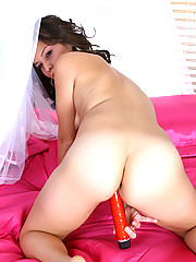 Sweet amateur Apple strips off in her room and masturbates with a stiff dildo for a solo sex
