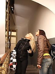 Hot lesbian teenage fuck action in stairhouse
