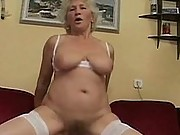 Saggy granny sucks and fucks dude