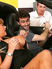 Busty Car Dealer fucking her new clients big cock