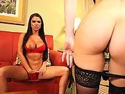 Horny chicks fuck each other using dildos