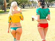 Hot ass booty short soccer players lick and suck eachother after a game in these hot lesbian licking hot reality vids