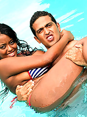 Smoking hot ass thick big tits brazilian babe gets her ass fucked and creamed in these hot poolside fucking wet pics