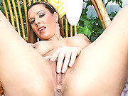 Anilos Victoria slips off her bikini and teases her hot pussy outdoors