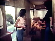 Two real vintage hippies fucking in a trailer