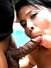 Amazing mega hot ass brazilian bikini babe takes a cock deep in her ass in these wet poolside fuck pics