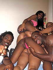Check out these hot ebony college babes get fucked hard in these bathroom and group sex dorm room college fucking pics