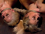 Two hot blondes in crazy predicament. They must stay perfectly still while they cum on the sybian to avoid shocking themselves