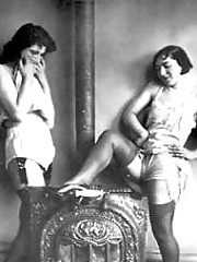 Vintage lesbians with dildos made from wood