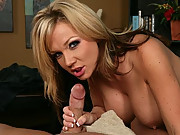 Nikki is a bored housewife, but when her husband comes home from work, she has a surprise for him.  She purchases a massage table and wants to learn to be a licenses masseuse.  Her first customer.......her husband and his cock of course.  What a happy end