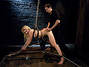 18 year old new to sex Mallory fucked in bondage.