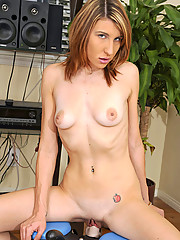 Nubile Ava White enjoying her first moment with the monkey rocker sex machine