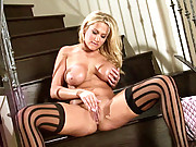 """Busty Pornstar Alanah Rae strips out of her little black dress and touches herself"""