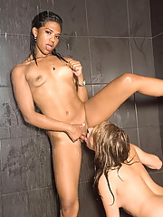 Alyssa Hall and Emy take a hot shower
