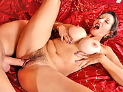 Thick Anilos Persia Monir massages her big tits while getting fucked