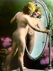 Vintage naked babes on postcard from thirties